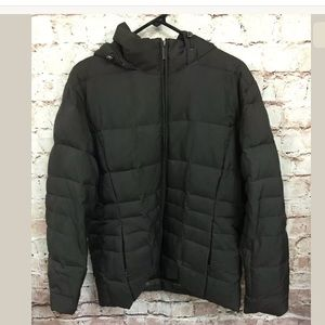 Calvin Klein Brown Puffer Coat Large Quilted Hood